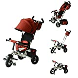 Qaba 2-in-1 Lightweight Steel Adjustable Convertible Baby Tricycle Stroller, Red