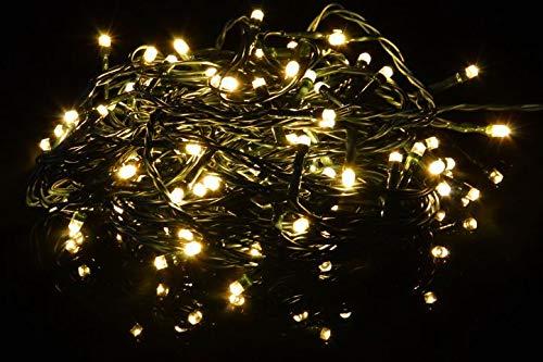 LED Lichterkette mit 6 Stunden Timer für Innen & Außen - 400 LED Warmweiss - grünes Kabel - 10m Zuleitung - Trafo IP44 DEKRA GS-geprüft