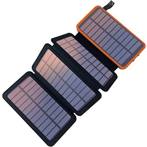 Pealiker Caricabatterie Solare 25000mAh Solare Power Bank Portatile Batteria Esterna Impermeabile con 2 Porte USB 4 Pannello per Huawei, Samsung, iPhone, LG, Tablet, ECC