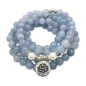 HANDMADE Throat Chakra Japa Mala Natural Semi-Precious Stones Blue Chalcedony Lotus Flower Charm 108 Beads 8mm Yoga Meditation Necklace