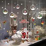 UMIPUBO - Adhesivo Decorativo para Ventana, diseño de Bolas de Navidad, Santa Copos de Nieve extraíbles, estático, Pegatinas para Fiesta, Navidad, Tienda, casa