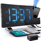 Despertador de Proyección 7 Pulgadas Radio Despertadores Reloj de Digital Pantalla de LED Proyector Giratorio de 180 ° Radio FM Carga USB 4 Niveles de Brillo de la Pantalla 3 Niveles de la Proyección