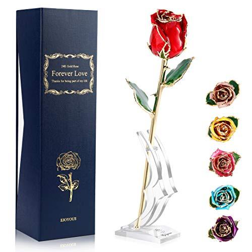 Ejoyous - Rosa de oro de 24 quilates con soporte de regalo para novia, hija, madre, abuela, amiga, cumpleaños, boda, aniversario, graduación, San Valentín, Acción de Gracias, rosa roja con base