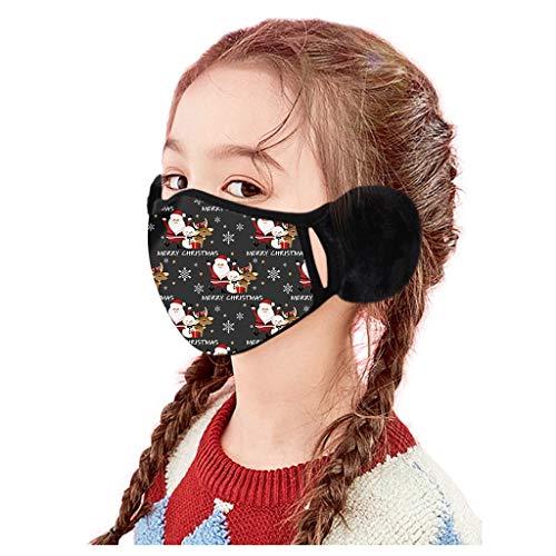 Dawnzen Kinder Weihnachten Mundschutz mit Ohrenschützer Waschbar Plüsch Winter Ohrenwärmer Atmungsaktiv Halstuch Bandana Mund und Nasenschutz Stoff für Mädchen Jungen