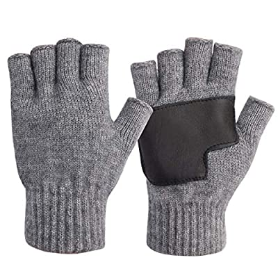 Winter Warm Knit Fingerless Gloves Half Finger for Men and Women with Leather Patchwork Grip for Driving Fishing Grey