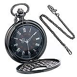 Bestfire, orologio da taschino, al quarzo, stile rétro vintage steampunk, numeri romani, colore nero