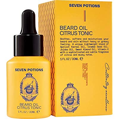 Seven Potions Premium Beard Oil for Men — Jojoba Oil Beard Softener to Nourish Skin, Hair, and Stop Beard Itch — All-Natural, Vegan, Cruelty Free — Citrus Tonic Scent (30ml)