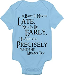 Lord Of The Rings Bodysuit - A Baby Is Never Late Nor Is He Early He Arrives Precisely When He Means To - Handmade Baby Cloths For Boys - Baby Shower Gift Idea