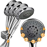 Soffione per doccia con interruttore, soffione doccia + 2 m, tubo flessibile 5 modalità di risparmiatore, doccetta, soffione in acciaio inossidabile