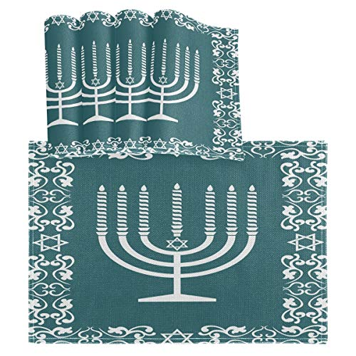 vvfelixl Jewish Menorah Design Happy Hanukkah Set of 4 Placemats 18'X12' Table Mats Cloth Kitchen Linen Sets Linen-Like Heat-Resistant Dining Home Decorations Everyday Use