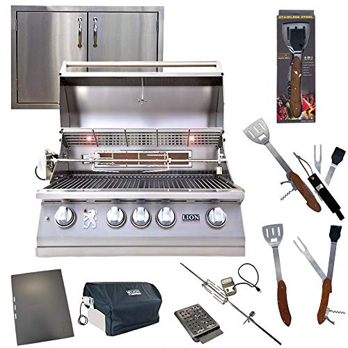 """Lion Premium Grills 32-Inch Natural Gas Grill L75000 with Made in USA BOB 30"""" Double Door Exclusive Best of Backyard Gourmet Package"""