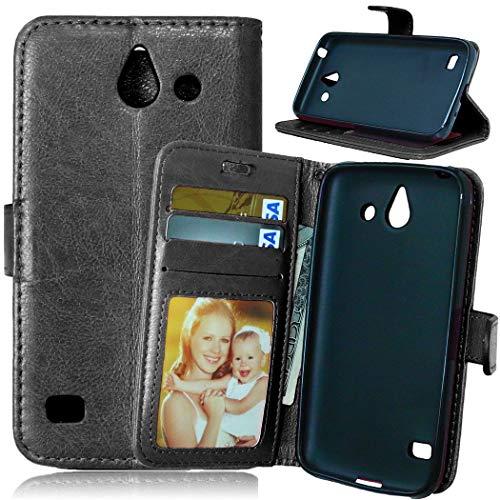 JEEXIA® Custodia in Pelle per Huawei Ascend Y550 (4.5pollices), Alta qualità Affari PU Pelle Flip Cover con Funzione di con Supporto Fondina per Portafogli - Nero