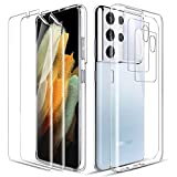 LK Cover Compatibile con Samsung Galaxy S21 Ultra 5G Custodia, 2 Pezzi Pellicola Protettiva & 2 Pezzi Pellicola Fotocamera, Morbido TPU Protezione Case-Trasparente