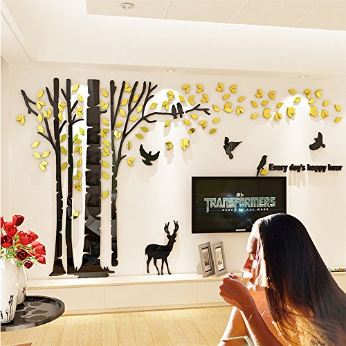 JYSPT DIY 3D Huge Forest Tree Wall Stickers Crystal Acrylic Wall Decals Wall Murals Home Decorations Arts for Home Decoration Living Room Bed Room ¨ Gold Left, XL
