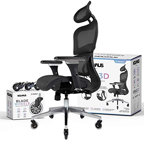 NOUHAUS Ergo3D Ergonomic Office Chair - Rolling Desk Chair with 3D Adjustable...