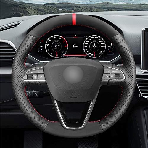 HCDSWSN Cubierta Antideslizante del Volante del Coche del Ante Negro para Seat Leon 5F Mk3 Ibiza 6J 2016-2019 Arona 2018