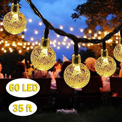 Guirnalda de luces de bola de cristal solar, paisaje, Halloween, Navidad, cristal, Blanco cálido., 60led-Crystal Ball-Warm White