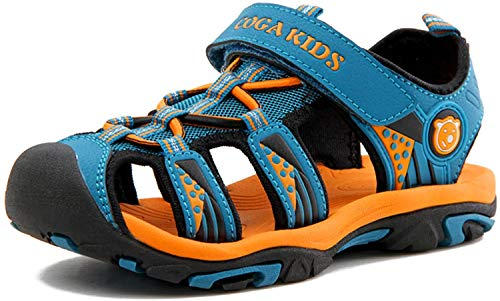 Sandalen Jungen Geschlossene Sommer Atmungsaktiv rutschfest Kinder Strand Schuhe Outdoor Trekking Schuhe Breathable mit Klettverschluss Blau Gr.40