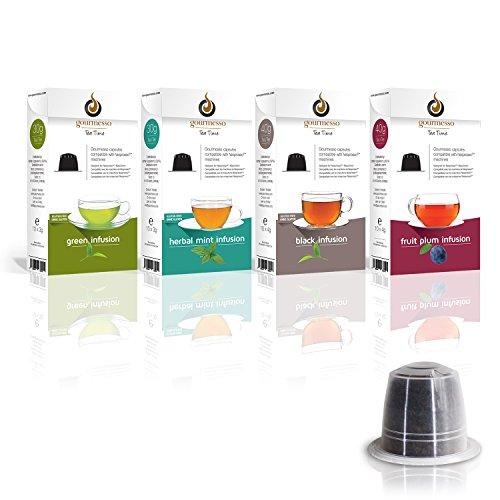 Gourmesso Infusion Box – 40 Nespresso kompatible Teekapseln – 4 verschiedene Geschmacksrichtungen