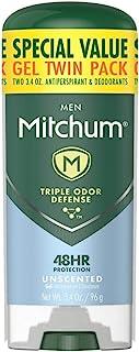 Mitchum Antiperspirant Deodorant Stick for Men, Triple Odor Defense Gel, 48 Hr Protection, Dermatologist Tested, Alcohol F...