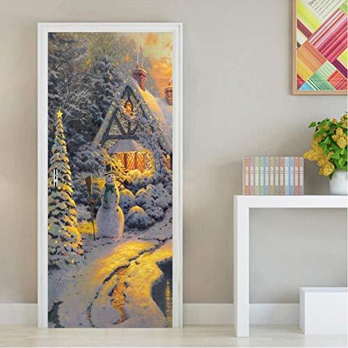 JHYT Ölgemälde Plain Woods Schneemann 3D Türaufkleber Selbstklebende Wasserdichte Tapeten Aufkleber Home Decor Tür Wandaufkleber