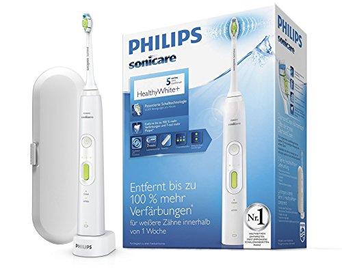 Philips Sonicare HealthyWhite+ Elektrische Zahnbürste HX8911/02 mit 2 Putzprogrammen, 3 Intensitäten, DiamondClean Aufsatz & Etui - Zähne aufhellen, Plaque & Zahnverfärbungen entfernen – Weiß