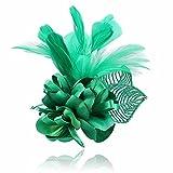 Zhanghanzong-apparel Cintas para el Pelo Broche de Plumas de Boda Hecho a Mano de Tela Flor Grande Broche Flor Doble propósito para Mujeres (Color : Green, Size : Free Size)