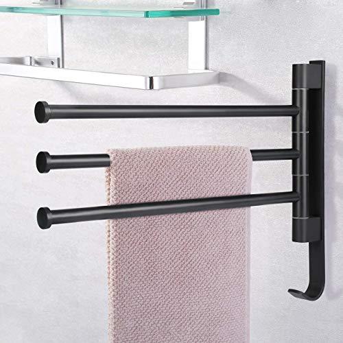 LC&TEAM Handtuchstange ohne Bohren Handtuchhalter selbstklebend 40CM Küchentuchhalter 3 armig Badetuchhalter Küche Handtuchhalterung 180°Drehbar Stange - Schwarz
