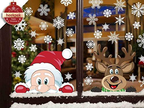 Heekpek Schneeflocken Fensterdeko Fensterbilder für Weihnachten Winter Dekoration Türen Schaufenster Vitrinen Glasfronten Schneeflocke Fensteraufkleber Spähen des Weihnachtsmanns Weihnachtselche