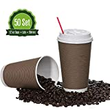 Safeware [12oz] 50 Sets Quality Paper Coffee Cups with Lids. Insulated Double Wall, No Drip Roll Up Rims, Easy to Grip Ripple Design. Perfect Disposable To-Go Hot Cups for Travel, Driving, Home.