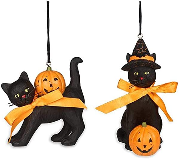 Bethany Lowe Black Cat And Jack O Lantern Pumpkin Halloween 3 5 Ornaments