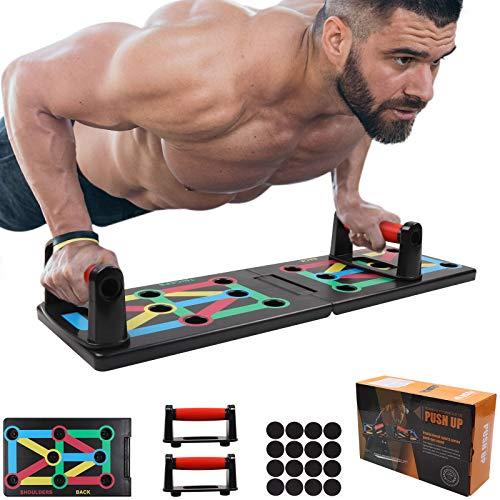 GLKEBY 12-in-1-Push-up-Board, faltbares tragbares Push-up-Rack-Board, multifunktionale farbcodierte Fitness-Push-up-Ständer, für Indoor-, Turn- und Outdoor-Muskeltraining Fitnessübungen