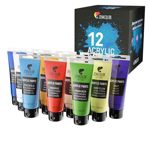 Zenacolor Kit di 12 Colori Acrilici, 12 Tubetti da 120 ml, 12 Colori Tempere per Dipingere, per Legno, Bricolage, per Adulti e Bambini.