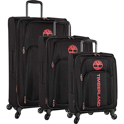 Timberland 3 Piece Expandable Spinner Luggage Set, Black, One Size