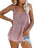 BLENCOT Camiseta sin Mangas para Mujer Chaleco de Verano Floral Color a Juego Chaleco Superior de Punto Casual Rosa