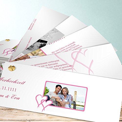 sendmoments Einladung Silberne Hochzeit, Mein Herz 200 Karten, Kartenfächer 210x80 inkl. Weißer Umschläge, Rot