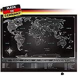 Trispando Weltkarte zum Rubbeln in Premium Qualität, Rubbelweltkarte,inkl. Rubbelhilfe, 80x60 cm, Landkarte zum Freirubbeln, Schwarz/Chrom ohne Geschenkverpackung