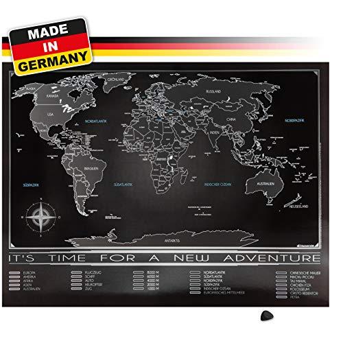 *Trispando Weltkarte zum Rubbeln in Premium Qualität, Rubbelweltkarte,inkl. Rubbelhilfe, 80×60 cm, Landkarte zum Freirubbeln, Schwarz/Chrom ohne Geschenkverpackung*