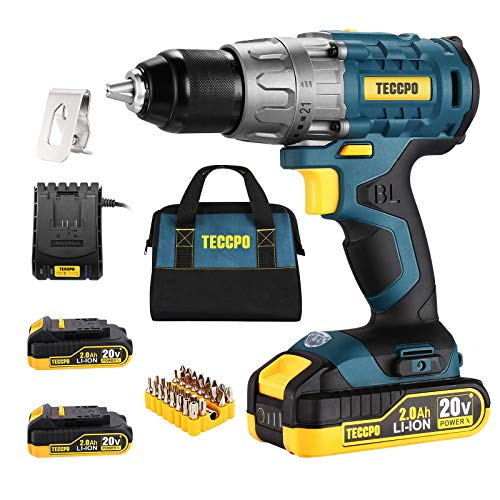 """Cordless drill Brushless 20V Liion Drill Driver Set 2 x 20Ah Batteries 530 Inlbs Torque 1/2"""" Keyless Chuck 211 Torque Settings 1H Fast Charger 33pcs Bits Accessories with Tool Bag TECCPO"""