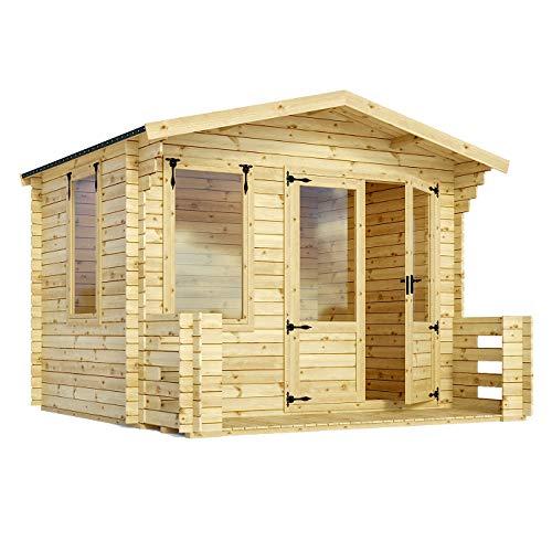 Green Planet UK - 3,3 x 3,4 m blokhut zomerhuis met Veranda 19mm Bekleding FSC Bron hout, Dubbele deuren, Styreen Glas - Snelle levering