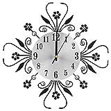 Strass cristal–Reloj de pared, diseño moderno diamantes Flores Reloj de cocina–Reloj de metal para salón oficina decoración