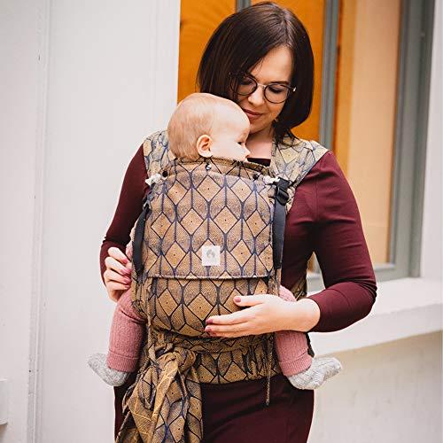 LIMAS Plus Babytrage Halfbuckle | 56-104 cm | Bauchtrage & Rückentrage & Hüfttrage | ab Geburt bis Kleinkindalter | Baby Carrier | Pava Honey Moon