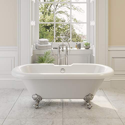 Freestanding Traditional 1500mm Double Ended Roll Top Bath with Ball Style Legs White Acrylic