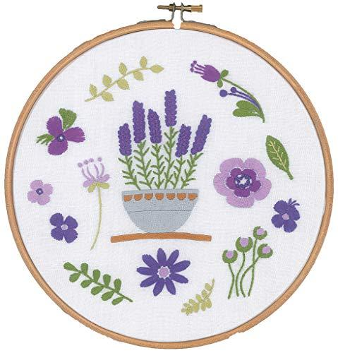 Vervaco Lavendel, Stickbild vorgezeichnet Stickpackung mit Stickrahmen, Baumwolle, Mehrfarbig, 20 x 20 x 0,3 cm