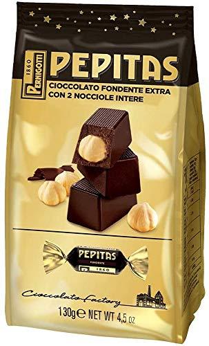 Pernigotti, Sacchetto Torroncini Pepitas Fondenti, Torrone al Cioccolato Fondente con Nocciole Intere, Senza Glutine, 130 gr