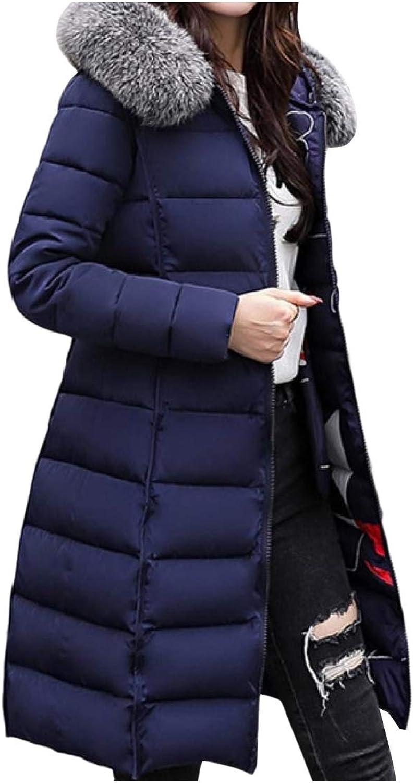Cobama Womens Reversible Winter Coat Slim Fur Collar Mid Long Anorak Jacket