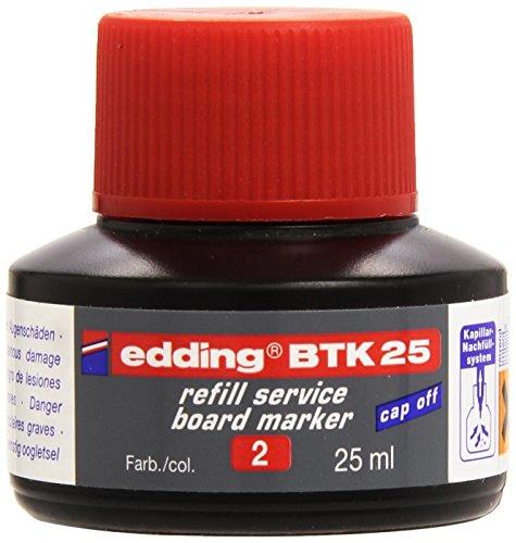 edding BTK25 Whiteboardmarker Nachfülltinte - Inhalt: 25ml - Farbe: rot - Tusche für Whiteboard-Stifte - Flasche mit Kapillarsystem
