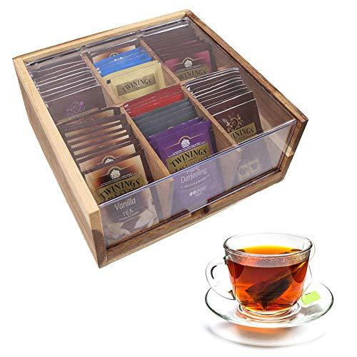 unho Caja para Bolsitas de Té con 6 Compartimentos Caja de Madera para Infusiones Organizador de Té con Tapa Transparente 22 x 21.5 x 9.6cm