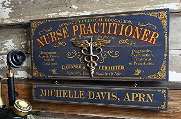 A Simpler Time Nurse Practitioner Wood Sign With Personalized Nameboard