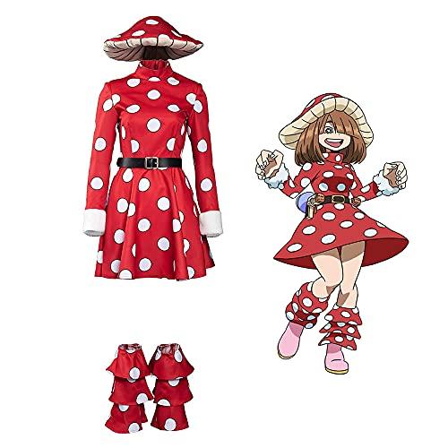 Aiqing My Hero Academia Komori Kinoko Disfraz de Cosplay Vestido de Cuello Alto de Hongo con Sombrero para Mujer